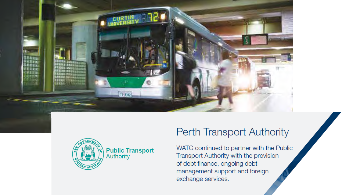 Perth Transport Authority WATC continued to partner with the Public Transport Authority with the provision of debt finance, ongoing debt management support and foreign exchange services.