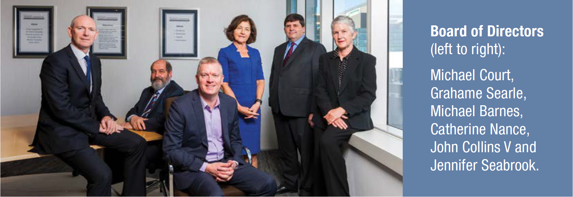 WATC's Board of Directors (left to right): Michael Court, Grahame Searle, Michael Barnes, Catherine Nance, John Collins V and Jennifer Seabrook.