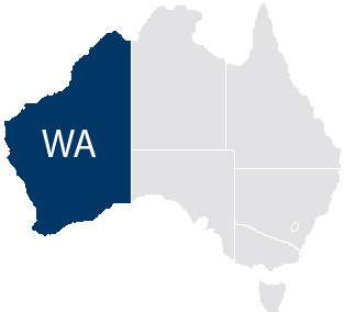 Map of Australia highlighting size of Western Australia