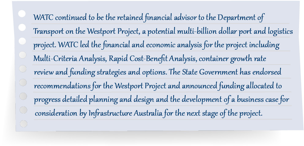 WATC continued to be the retained financial advisor to the Department of Transport on the Westport Project, a potential multi-billion dollar port and logistics project. WATC led the financial and economic analysis for the project including Multi-Criteria Analysis, Rapid Cost-Benefit Analysis, container growth rate review and funding strategies and options. The State Government has endorsed recommendations for the Westport Project and announced funding allocated to progress detailed planning and design and the development of a business case for consideration by Infrastructure Australia for the next stage of the project.