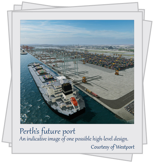 Perth's future port. An indicative image of one possible high-level design. Courtesy of Westport