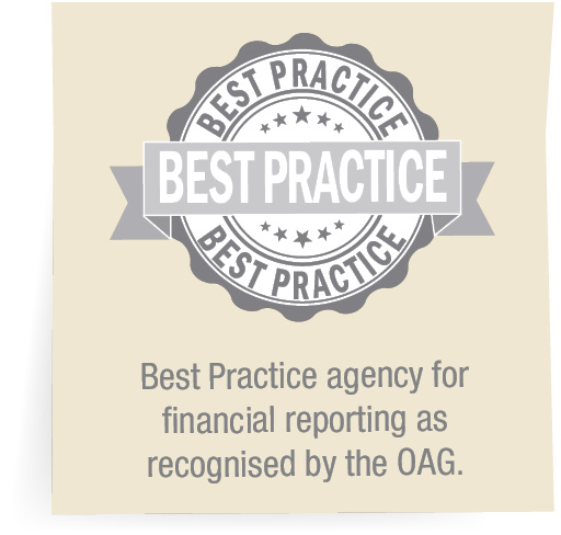 Best Practice agency for financial reporting as recognised by the OAG.