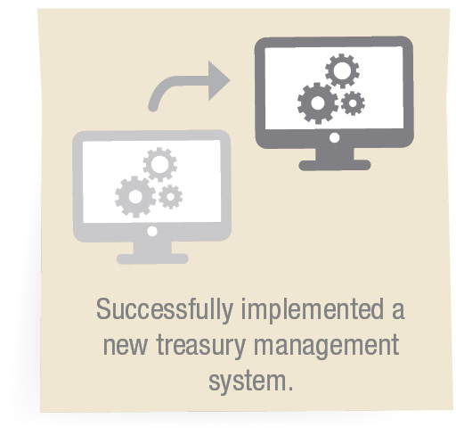 Successfully implemented a new treasury management system.